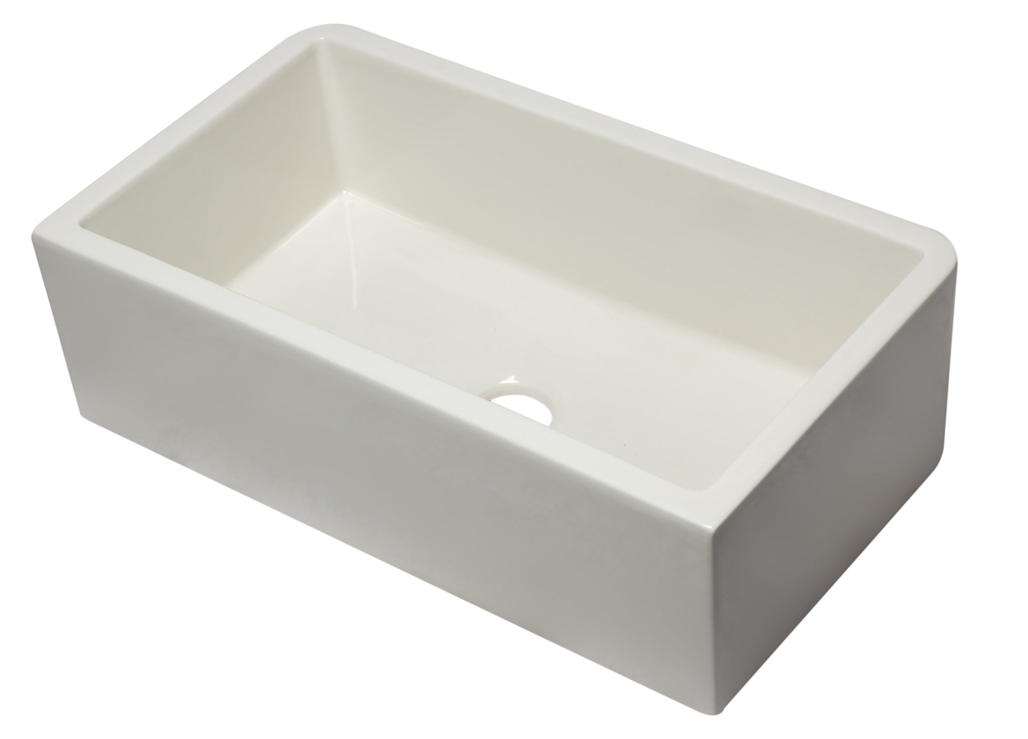 "33"" Biscuit Smooth Apron Solid Thick Wall Fireclay Single Bowl Farm Sink - AlternativeRoute"