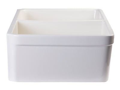 "ALFI brand AB512-B Biscuit 32"" Double Bowl Lip Apron Fireclay Farmhouse Kitchen Sink with 1 3/4"" Lip - AlternativeRoute"