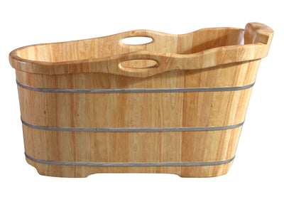 "ALFI brand AB1187 57"" Free Standing Rubber Wooden Soaking Bathtub with Headrest - AlternativeRoute"