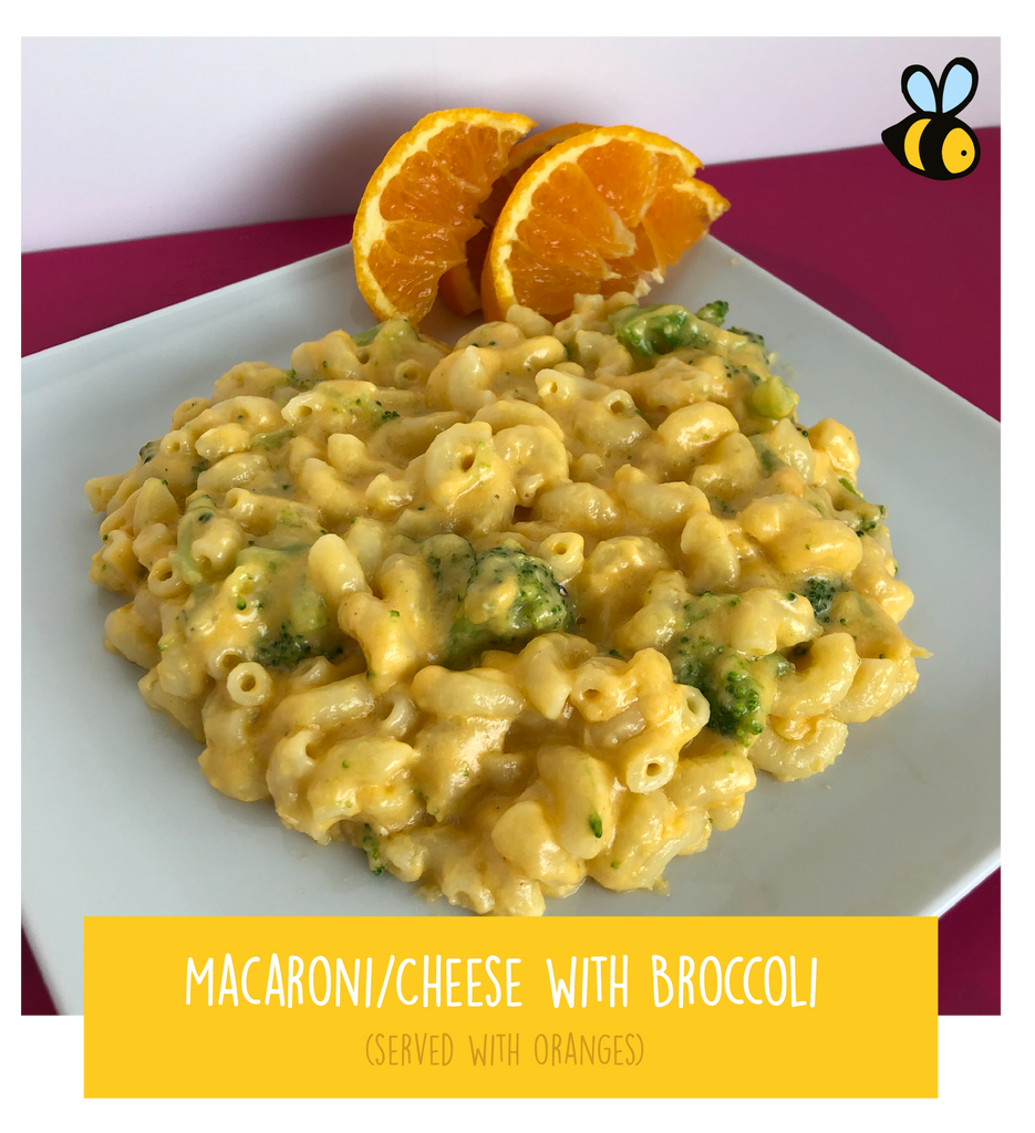 Macaroni & Cheese with Broccoli (served with oranges)