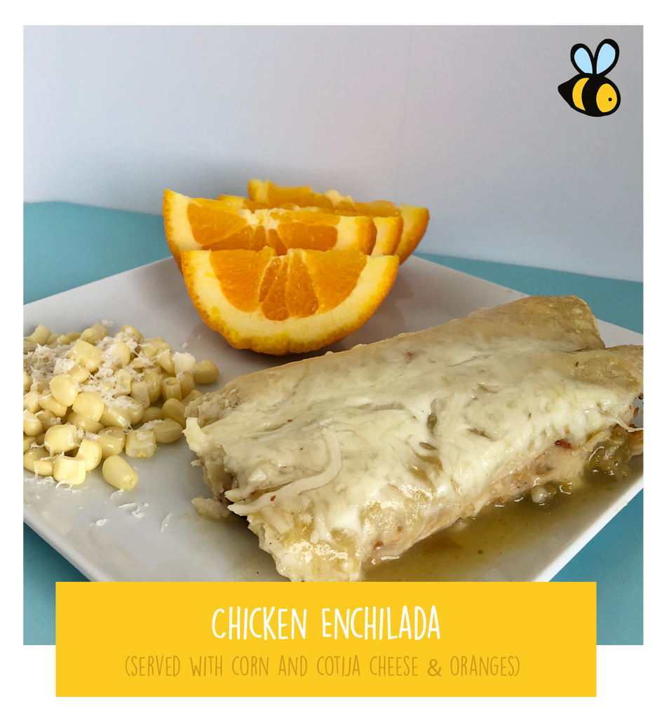 Chicken Enchilada (served with corn and cotija cheese & oranges)