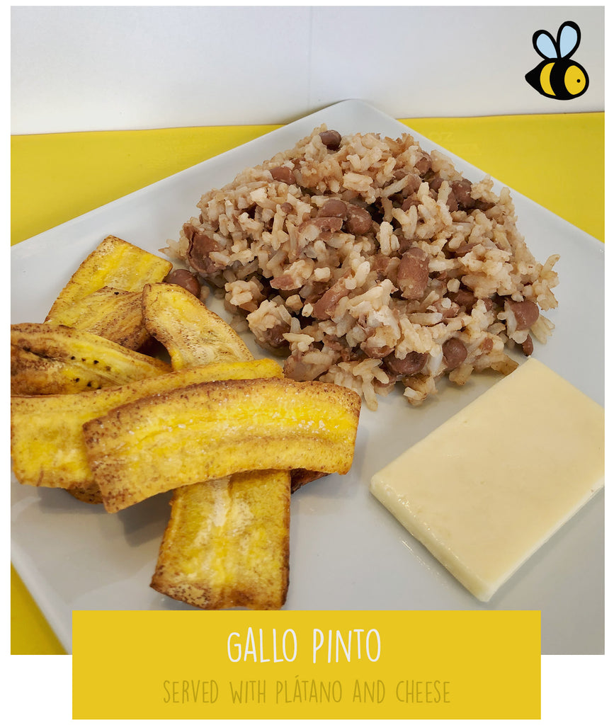 Gallo Pinto (served with plantain chips & cheese)