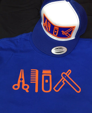 Cut Clip Shave Royal Blue & Orange Tee