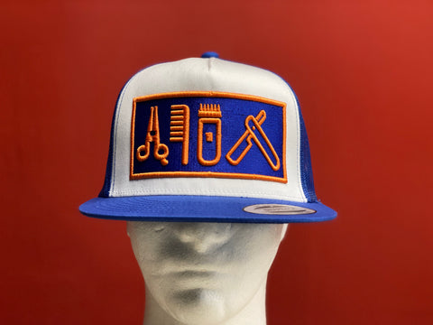 Cut Clip Shave Royal Blue & Orange snapback trucker