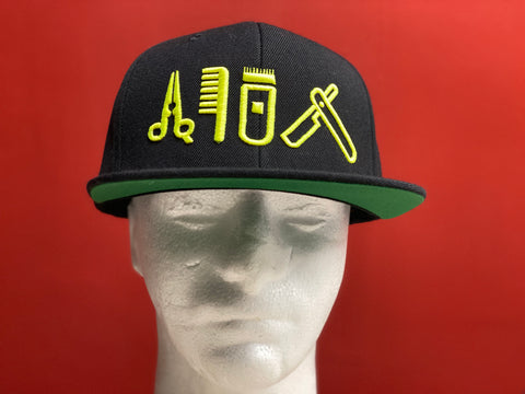 Cut Clip Shave Black  Snapback Neon Yellow Logo