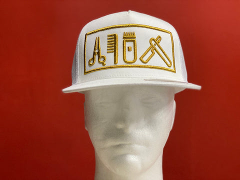 Cut Clip Shave White & Gold snapback trucker