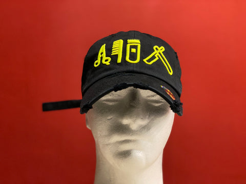 Cut Clip Shave Distressed Black Dad Cap & Neon Yellow  Logo