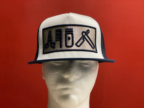 Cut Clip Shave Navy Blue and Silver snapback trucker