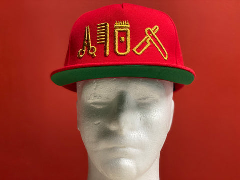 Cut Clip Shave Red & Gold Snapback