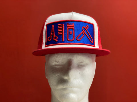 Cut Clip Shave Red White & Blue snapback trucker