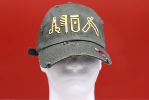 Cut clip shave distressed olive green dad cap
