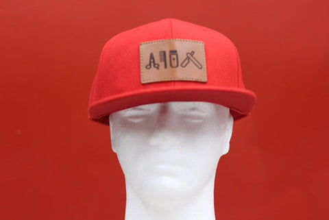 Cut clip shave snapback Red leather patch