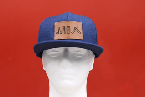 Cut clip shave snapback navy blue & leather patch