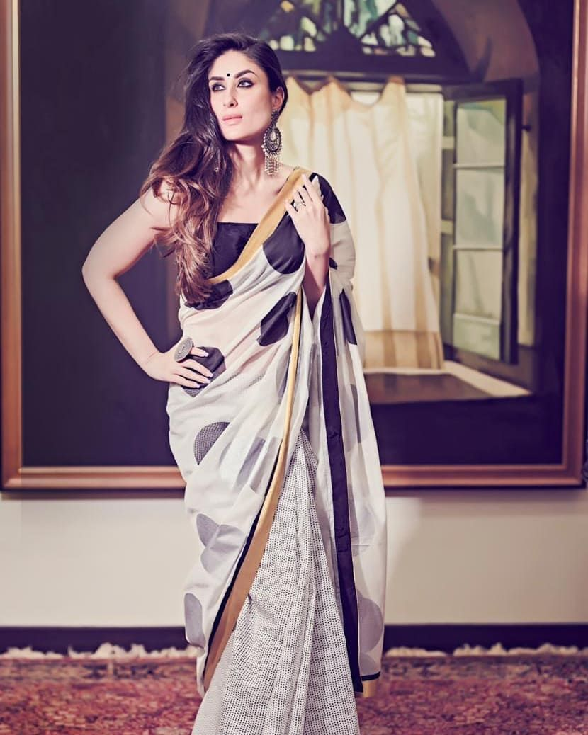 Kareena Black & White Saree