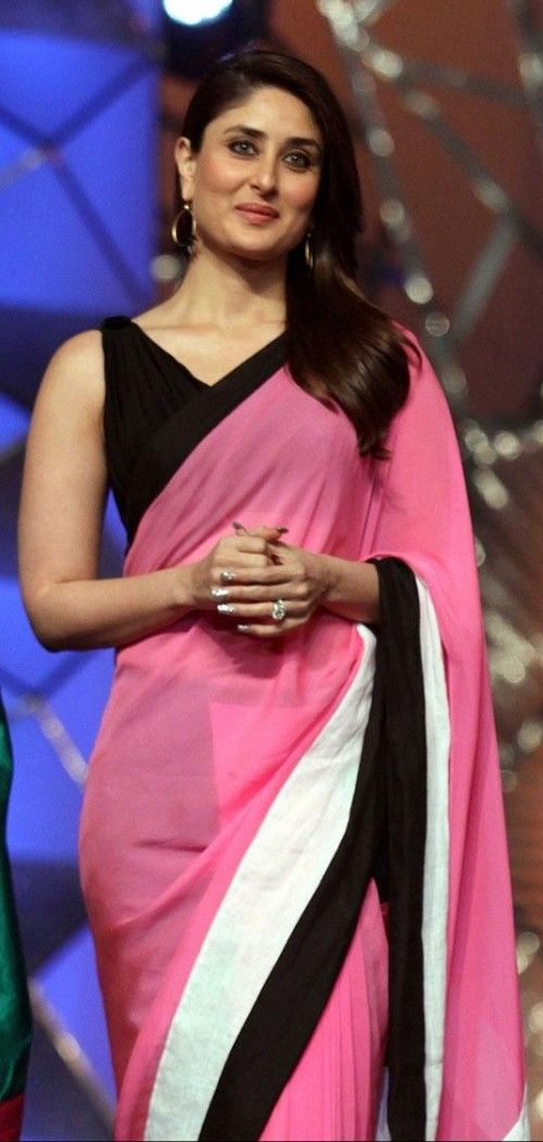 Kareena Pink & Black Saree