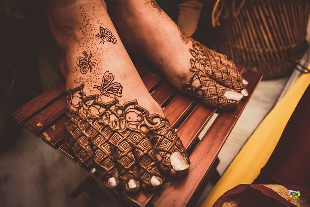Feet Mehendi for sister of the groom