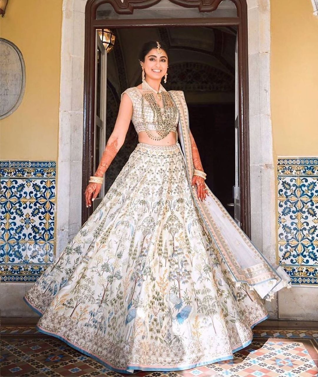 Simple White Lehenga With Embroidery