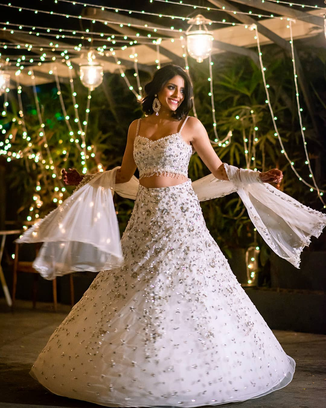 White Lehenga For Sangeet