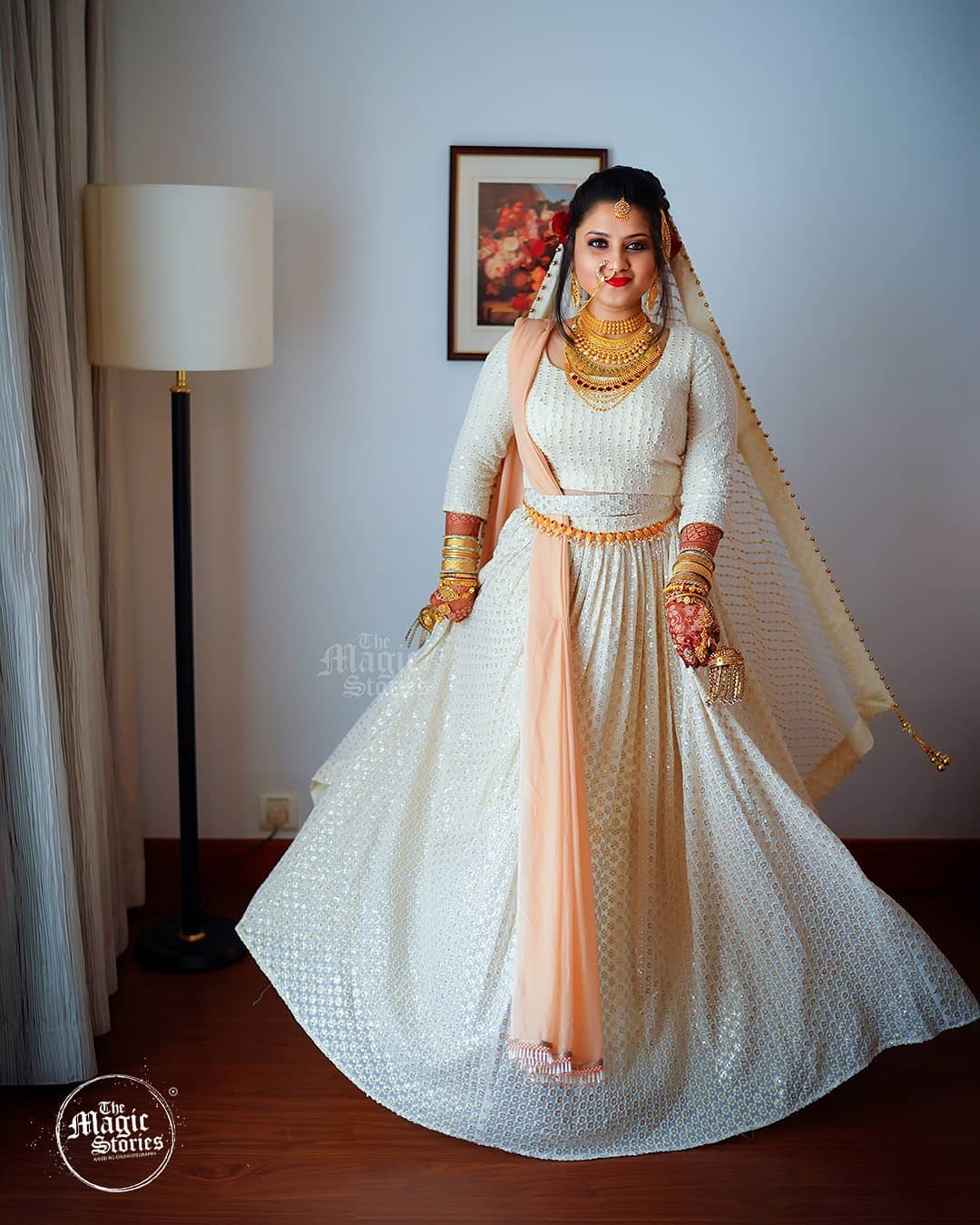 White Lehenga Mallu Wedding