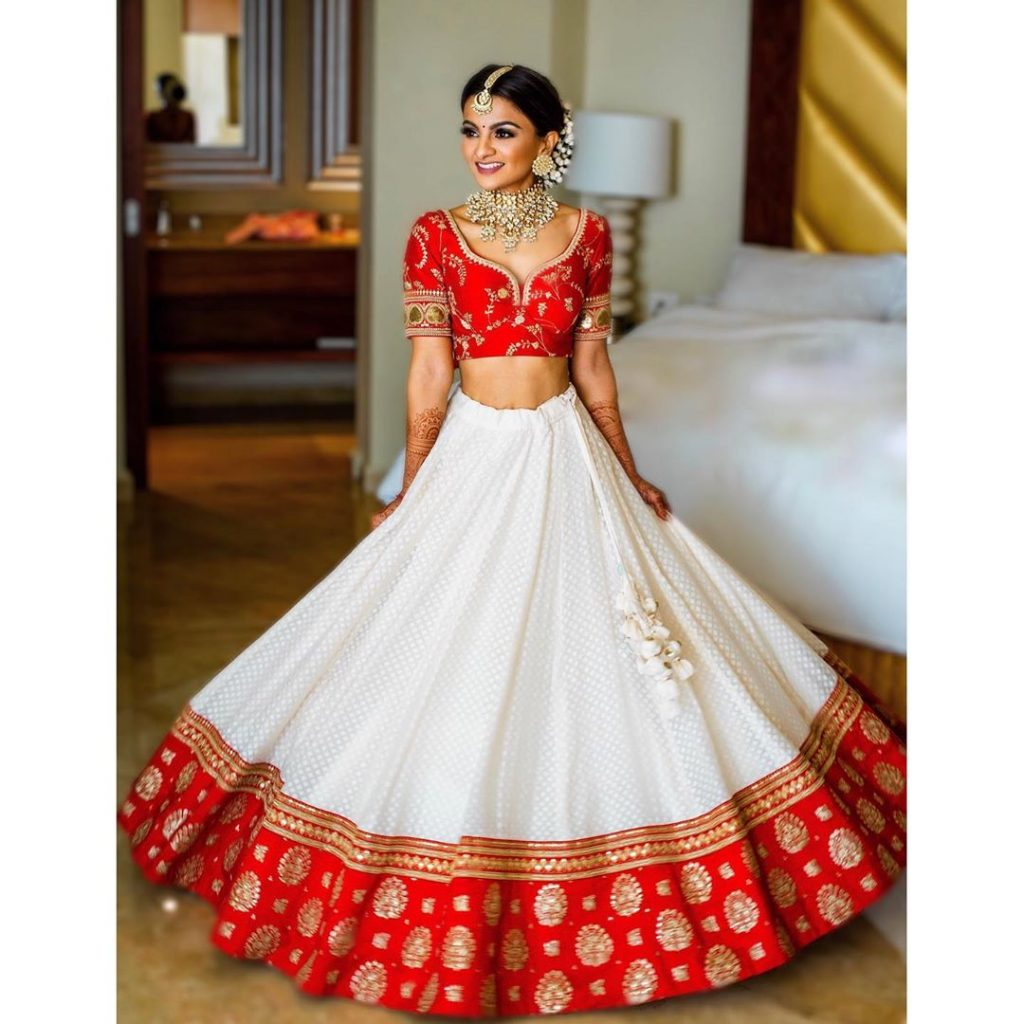 White Lehenga With Red Dupatta