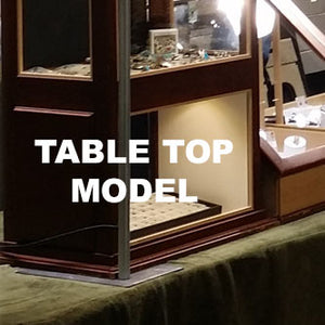 Tuck your table top stand under your display cases