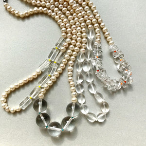(オーダー制作受付中!)knot pear & quartz necklace~crush ice~