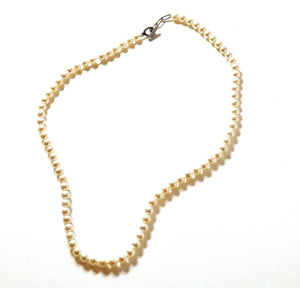 【no.29】ステンレス×ダイヤモンド淡水パールネックレス~connect stainless pearl×diamond short necklace~
