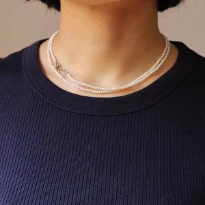 【no.29】K18×ダイヤモンド淡水ベビーパールロングネックレス~connect mix baby pearl × diamond long necklace ~