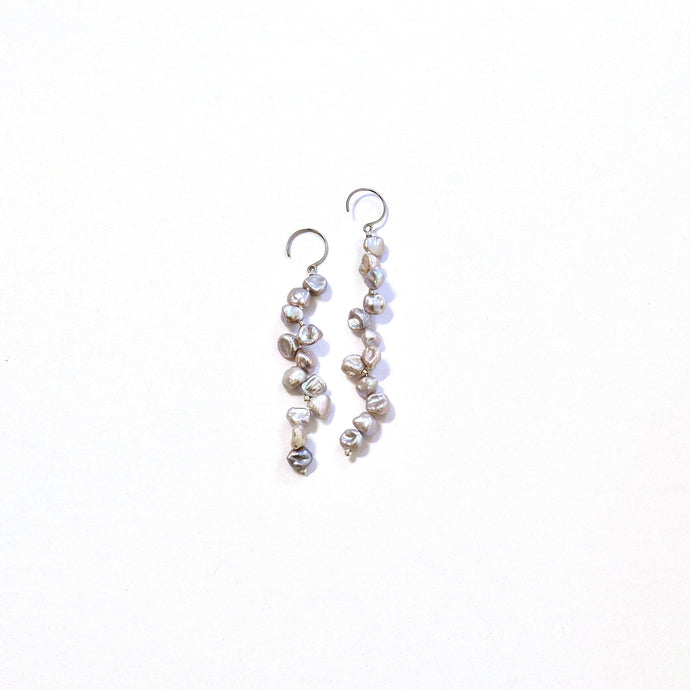 【no.29】ステンレス×バロックパールロングピアス~plus baroque pearl long pierced earrings~