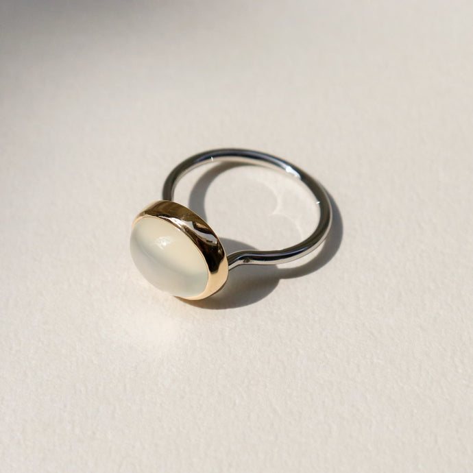 【no.29】ステンレス×K18×ムーンストーンリング~float stainless×K18 moonstone ring~