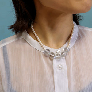 オーダー制作受付中!knot pear & quartz necklace~polka dots~