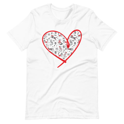 Cats Heart - Spoiled Cats and Dogs - Short-Sleeve Unisex WHITE T-Shirt