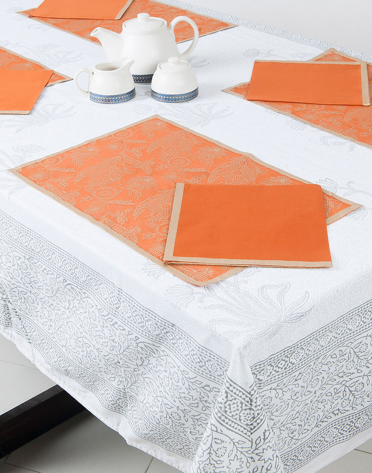 Tisch- & Serviettenset Orange/Gold
