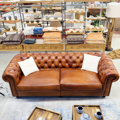 Old England Sofa - Caramel Brown - cm 240