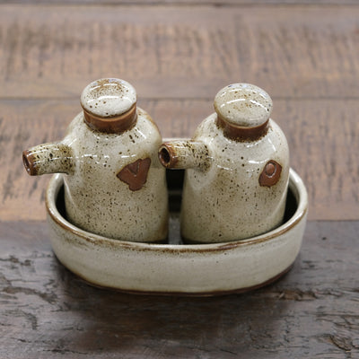 Keramik Oil & Vinegar Bottle Set - Crème