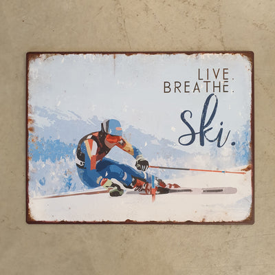 Metall Plakat - Live. Breath. Ski.