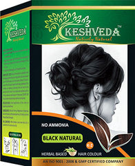 8 Application Sachets Keshveda herbal hair dye - NATURAL BLACK