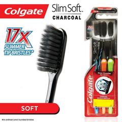 Colgate Slim Soft Charcoal Toothbrushes 3 Pack