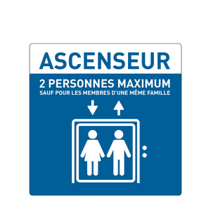 "Autocollant d'ascenseur 12"" - 2 personnes maximum"