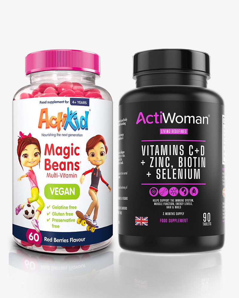 1x ActiWoman Vegan 90, 1x ActiKid Magic Beans Vegan Red Berries 60