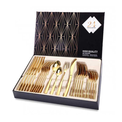24-Piece Stainless Steel Gold Silverware Set