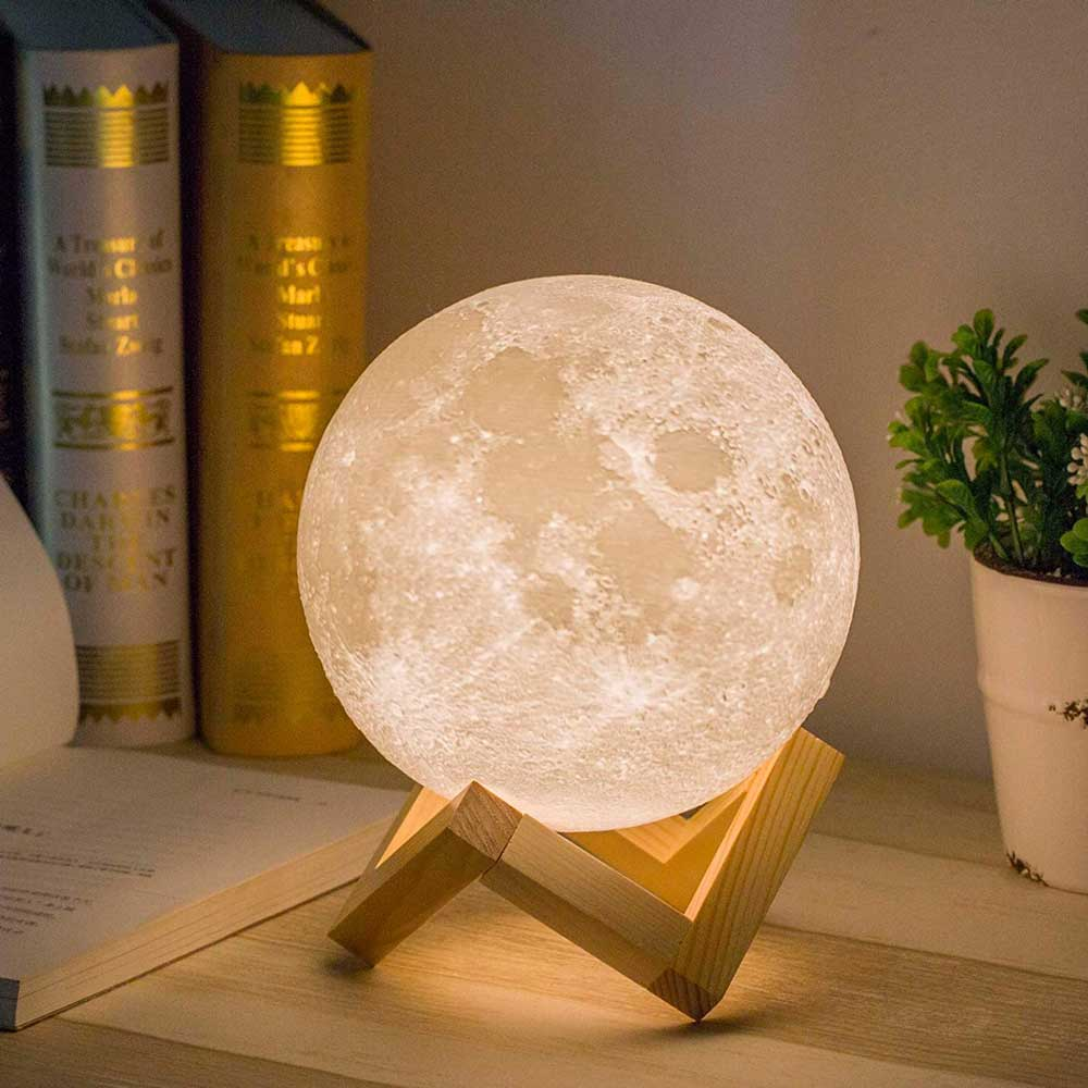 3D Print LED 16 Colors RGB Moon Lamp with Remote&Touch Control