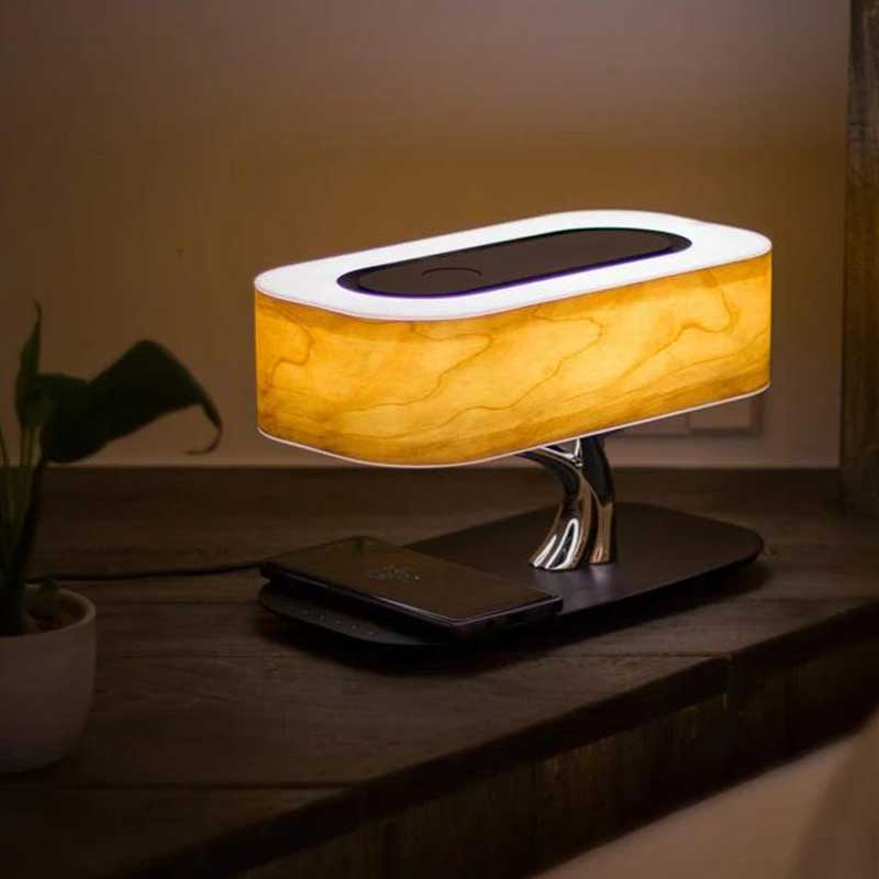 Bedside Lamp with Bluetooth Speaker and Wireless Charger