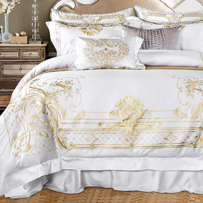 Egyptian Cotton Chic Golden Embroidery Duvet Cover Set