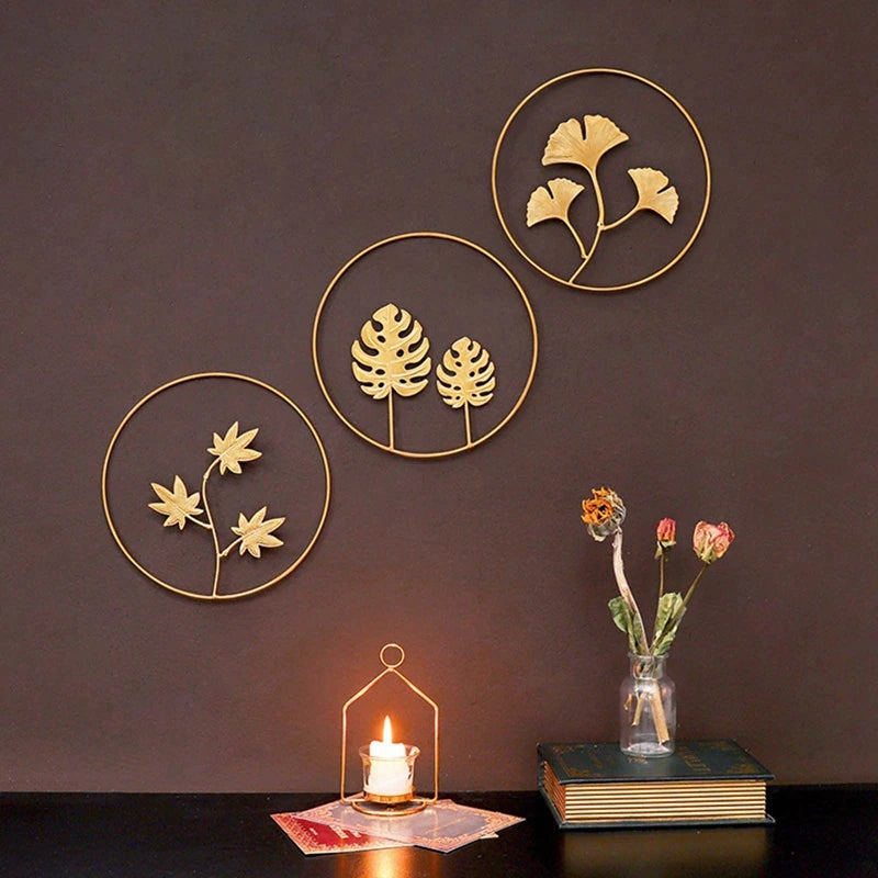 Gold Metal Ginkgo Wall Ornaments | Yedwo Design