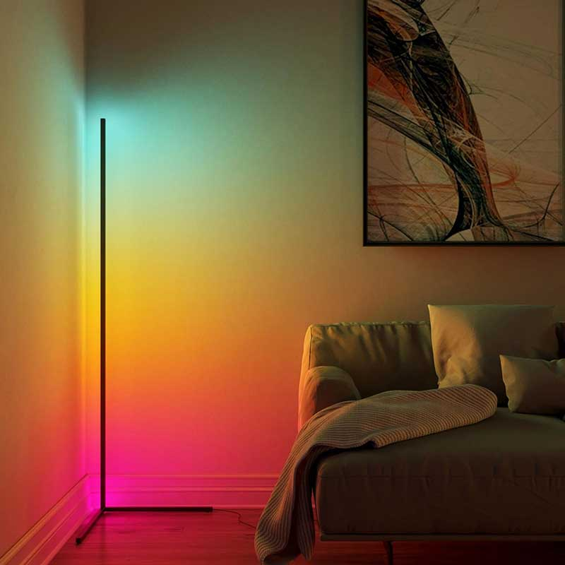 Yedwo Corner Floor Lamp | Standing Lamps for Living Room | Black LED Floor Lamp