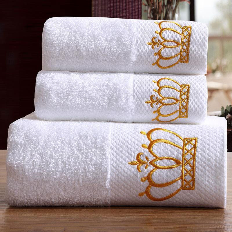 White Embroidery Cotton Royal Towel | Yedwo Home