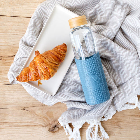 reusable glass water bottle with bamboo lid