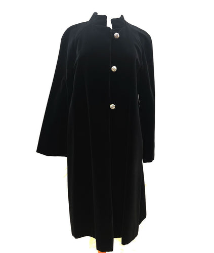 Vintage Black Velvet Coat (M) - HOB Boutique