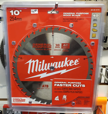 Milwaukee 48-40-4174 10 in. x 40 Teeth General Purpose Cutting Circular Saw Blade